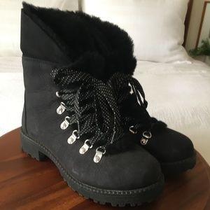 J.Crew Shearling Cuff Winter Boot Black